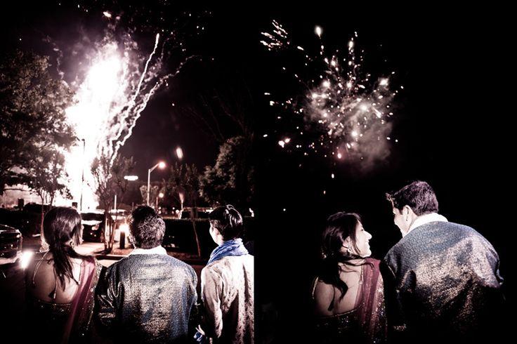 South Asian Wedding - Fireworks - Houston TX - Steve Lee Weddings - Photography
