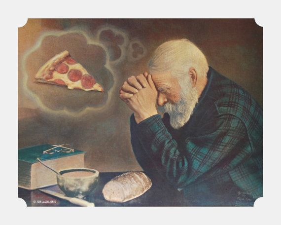 """8"""" by 10"""" print, """"Pizza Prayer"""" Altered Thrift Store Art"""