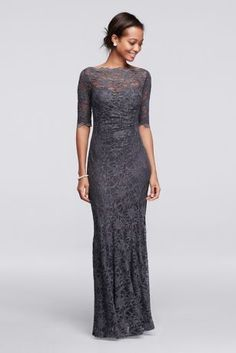 You will radiate pure elegance in this beautiful lace dress perfect for any Mother of the Bride dress! All over glitter lace dress with 3/4 sleeves features a scalloped boatneck and an illusion sweetheart neckline. Floor length mermaid silhouette is flattering and chic. Designed by Nightway. Fully lined. Back zip. 55% Nylon, 40% Polyester, 5% Spandex. Hand wash cold gently inside out, no bleach. Do not wring or twist, lay flat to dry. No iron. Do not dry clean.Also available in Plus siz...