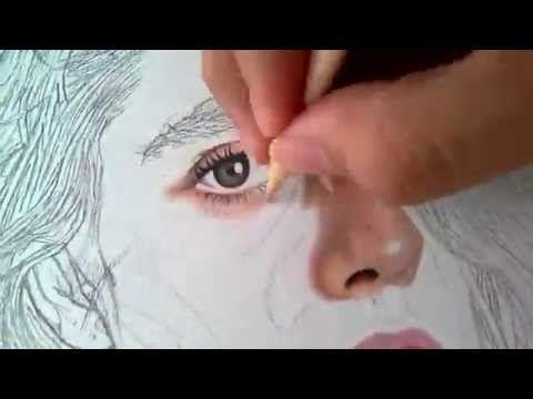 dibujo realista con lapices de colores - YouTube
