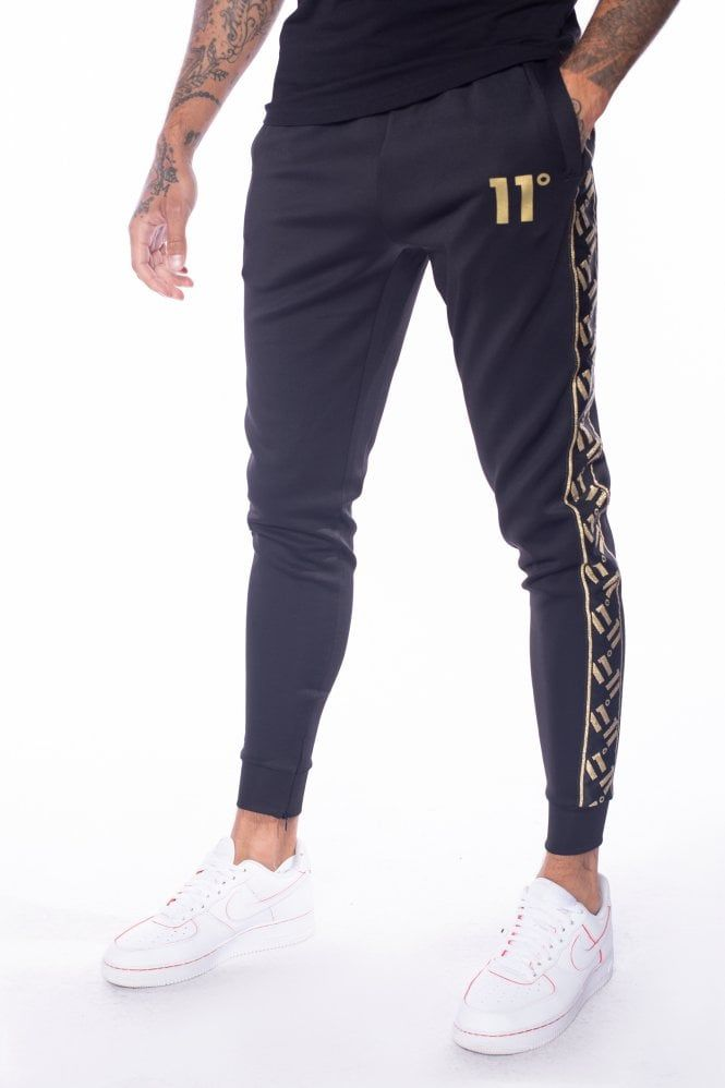 Sport Luxe Poly Track Pants Black Gold Sports Fashion Men Black Pants Sports Luxe