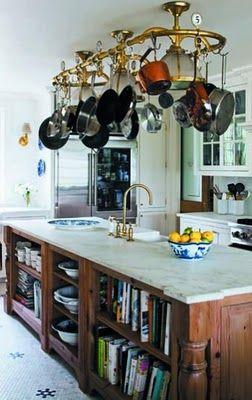 brass pot rack, open shelves in island for cookbooks or dishes