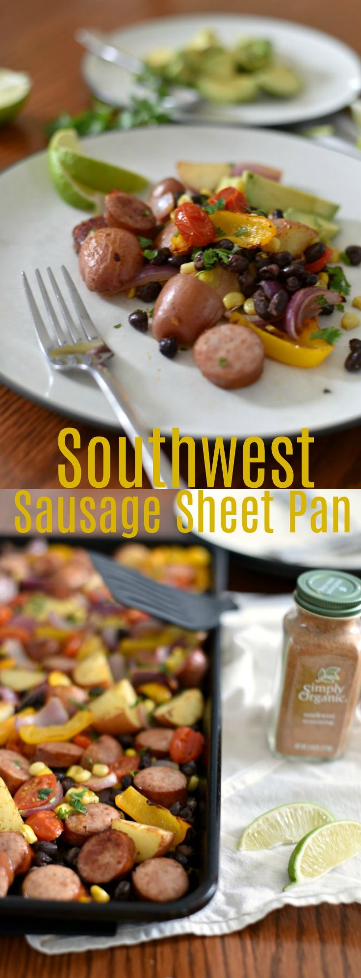 This easy sheet pan meal takes less than 30 minutes and is studded with fantastic southwest flavors! Sheet Pan Recipe, Southwest Seasoning, 30 Minute Recipe, Sausage Recipe, Kielbasa Recipe, Family Meal, Easy Recipe via @GingeredWhisk