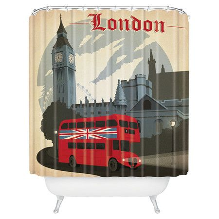 shower curtain with a london motif by anderson design group there is a pillow and shower bathroombathroom ideaslondon