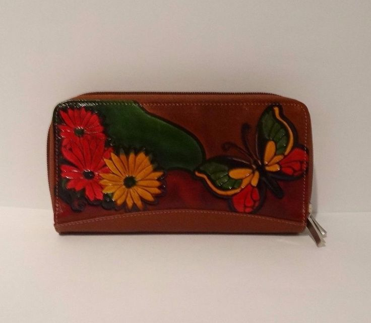 Embossed & Hand Painted 100% Genuine Leather Brown Double Zip Wallet - Handmade #Unbranded #DoubleZiparound