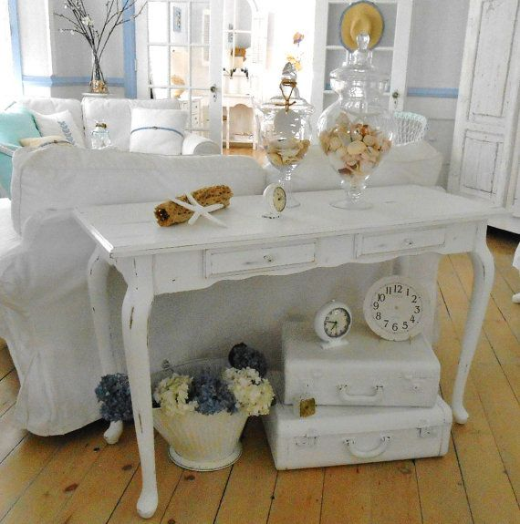 SOLD  shabby chic  furniture sofa table  table hall table by backporchco, $235.00