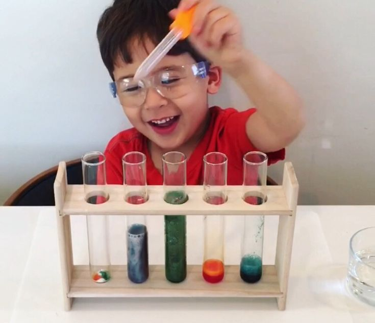 Fizzy Potions 💡 ages 3  💡 We love to do science experiments and vinegar and baking soda never disappoint when making potions. We started by adding some baking soda to each test tube, then adding some food coloring and finally some vinegar. It's amazing how using test tubes and wearing goggles made the activity so …