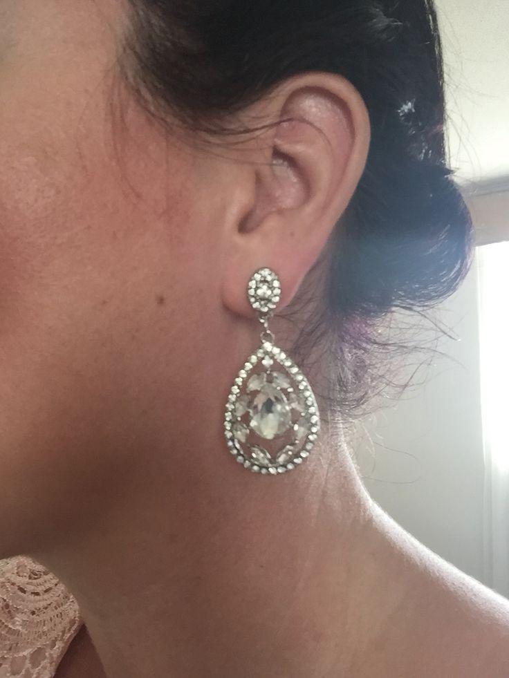 Antique look Art Deco rhinestone earrings