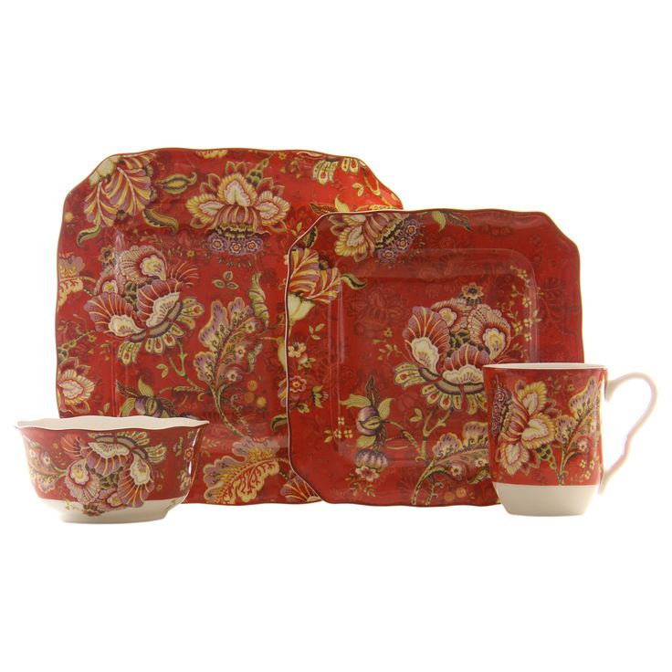 The Gabrielle cream square dinnerware set features an elegantly decorated design with rich colors and floral accents.  sc 1 st  Pinterest & 787 best DinnerwareSet the table in our house images on ...