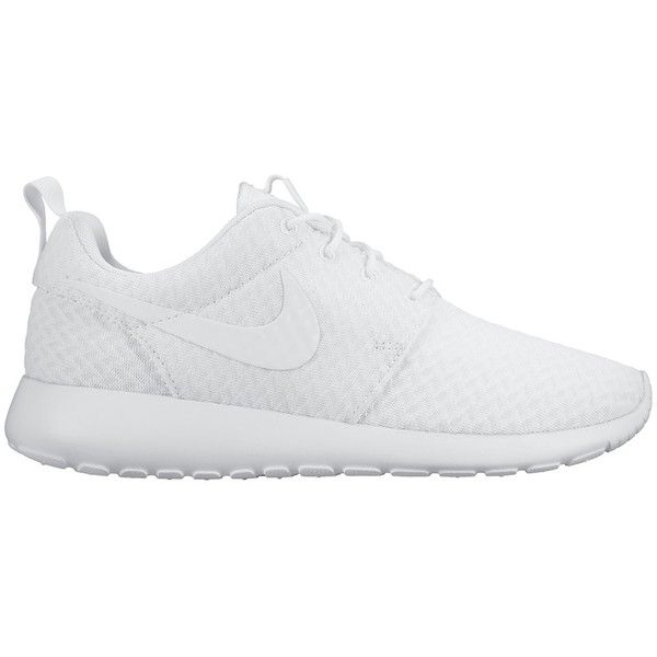 Nike Roshe One Womens Trainers, White found on Polyvore featuring shoes, sneakers, flats, zapatos, nike sneakers, white shoes, white sneakers, breathable shoes and flat pumps