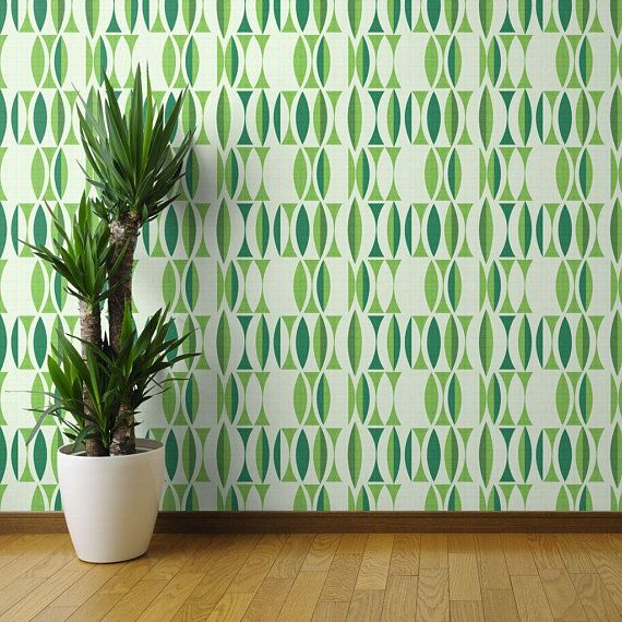 Green Wallpaper Sage Herb By Chicca Besso Mid Century Etsy Wallpaper Panels Green Wallpaper Wallpaper Roll