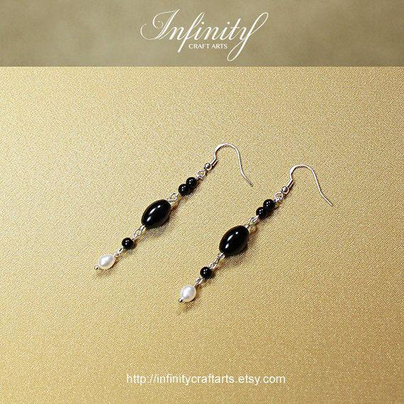 #Gemstone #Black #Onyx #earrings #Freshwater #Pearl by #InfinityCraftArts https://www.etsy.com/ca/listing/239063924/gemstone-black-onyx-earrings-freshwater?ref=shop_home_active_3