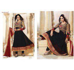 Buy Dinnar Georgette Black Semi Stitched Salwar Suit at Socrase.com