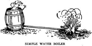 Water Boiler by -- Illustration for a homemade water boiler constructed from a wooden block, and 8-foot pipe, and a wooden barrel. http://www.homemadetools.net/homemade-water-boiler