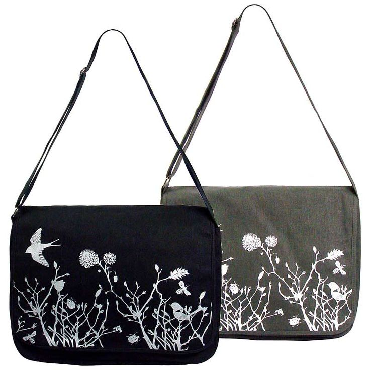 Vintage feel messenger bag with swallow gild print on it <br />(W)36 X (H)29 X (D)12 cm <br />