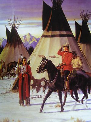 Canadian Mountie RCMP Saluting Indian Chief
