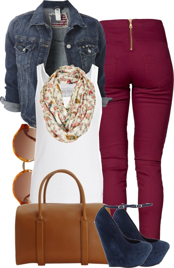 """Plum, Denim, White, Blue, Brown Outfit """"4