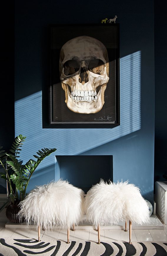 sheepskin stool skull painting decor blue dark living room pinterest inspired zebra rug faux fur furniture shop room ideas