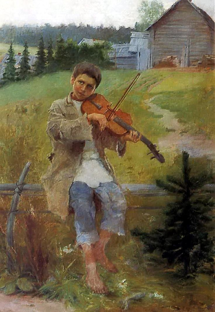 """Boy with Violin"",  Nikolay Bogdanov-Belsky (1868 -1945)"