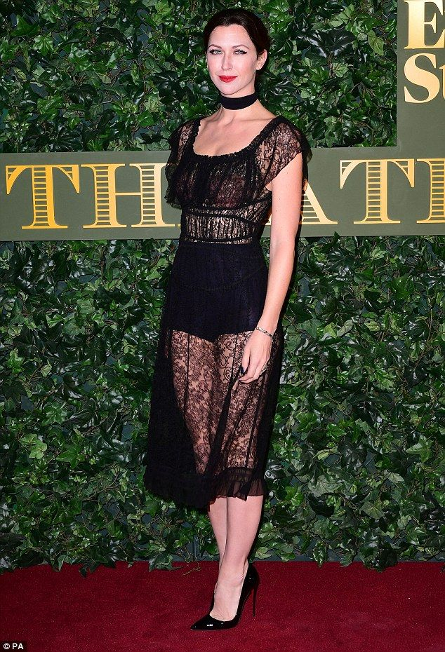 Vampy: Margo Stilley, 33, headed to the 62nd Evening Standard Theatre Awards on Sunday in a semi-sheer lace midi dress