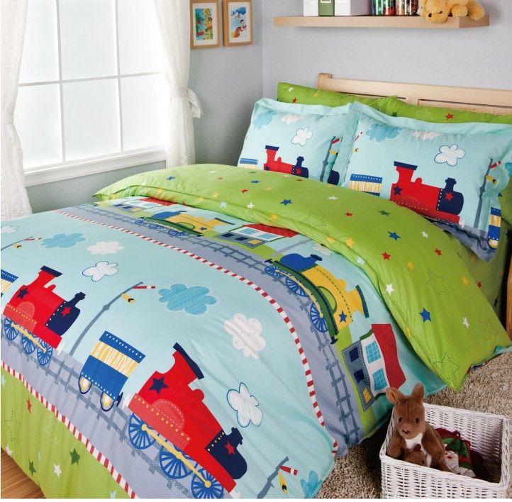 Boy S Quilt Duvet Cover Bedding Sets Single Or Double: Train Bedding Sets/kids Bed/bed Cover Set/sheets For Bed