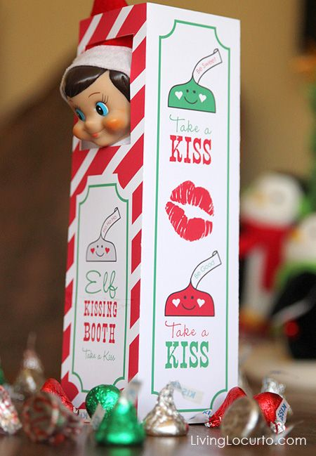 Sweet Elf on the Shelf Kissing Booth. Free Printable & Idea by Amy at LivingLocurto.com