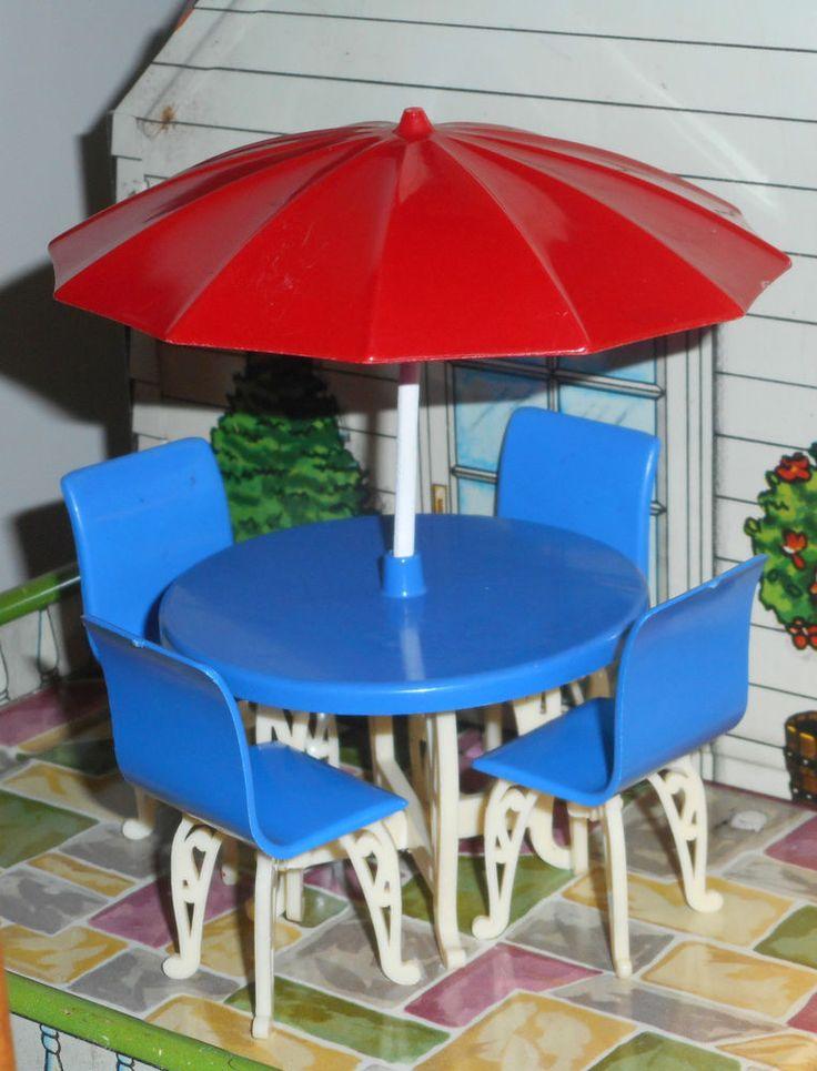 Plasco PATIO SET U0026 UMBRELLA Vintage Dollhouse Furniture 1:16 Renwal Marx  Ideal #Plasco