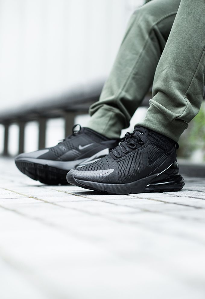 brand new 6a905 9ef00 Nike Air Max 270 Triple Black  On-Foot Shots - The Drop Date   shoes in  2019   Nike air max, Air max 270, Nike air