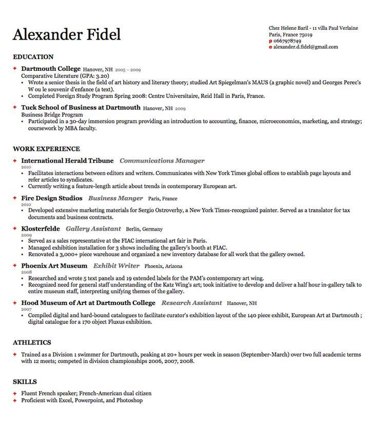 resume template harvard
