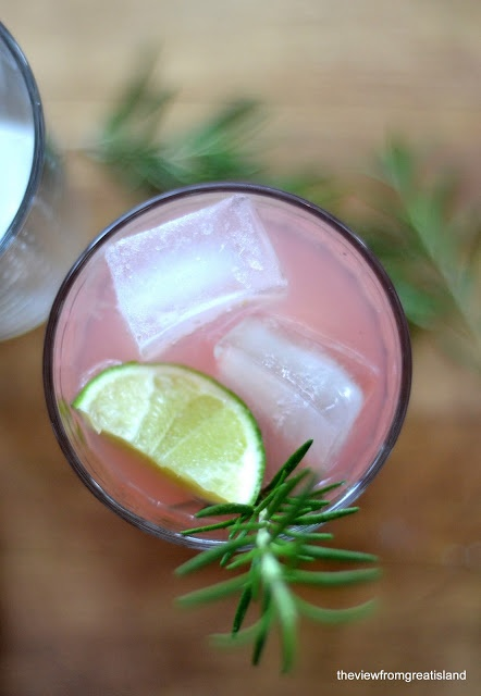 The Spring Fling: white rum, rhubarb simple syrup, grapefruit juice, muddled rosemary, lime garnish