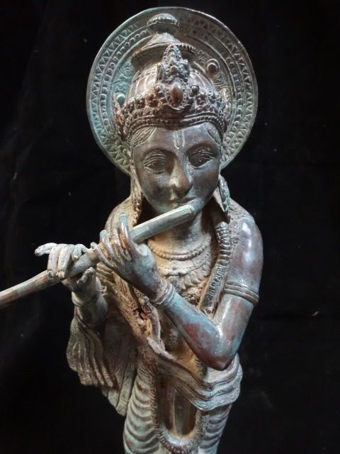 Bronze Krisna Statue Playing Flute Hindu Dharma Google Mahabrata meditation