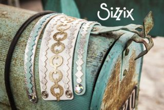 Leather bracelets made with the Sizzix Big Shot machine and leather die cutting tools.
