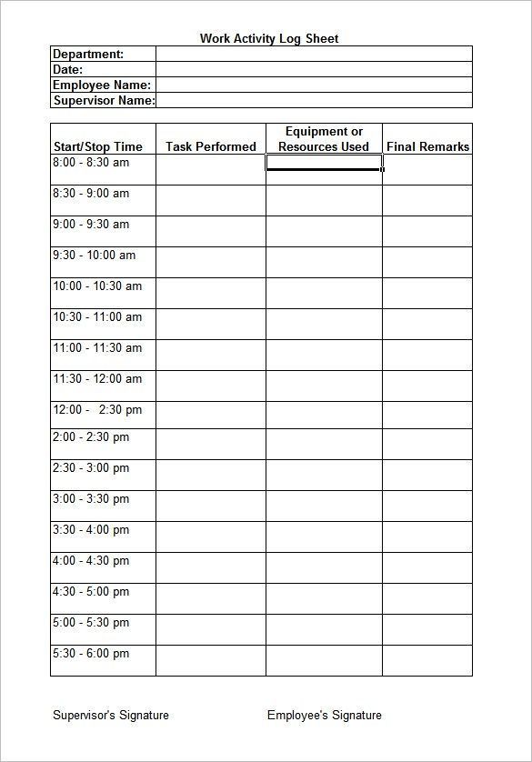 Daily Work Log Templates 10 Free Word Excel PDF Formats Templates