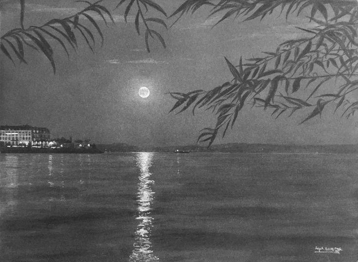Clair de lune dans la Baie de l'Evole, sur le lac de Neuchâtel. Dessin au crayon blanc sur papier noir.