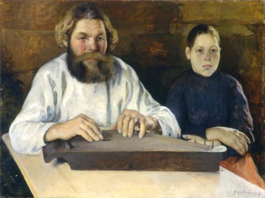 Pekka Halonen (né le 23 septembre 1865 à Lapinlahti – mort le 1er décembre 1933 à Tuusula): The Kantele Player and the Girl, 1895