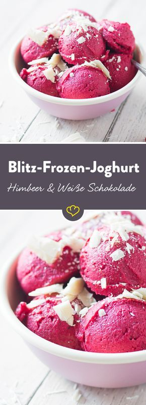 Für den schnellen Eishunger: Blitz Frozen Joghurt aus tiefgefrorenen Früchten, Joghurt und Schokolade. In 5 Minuten fertig!