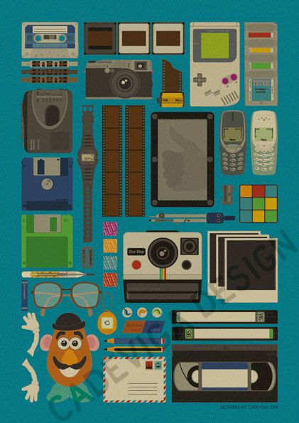 All things 80s. game boy, check. floppy disk, check. instant prints, check. tape deck, check. needle imprint board thingy, check check!