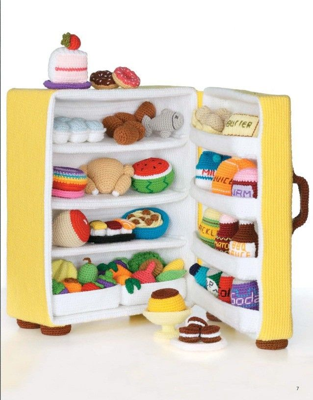 Kids will have hours of fun when your crochet them an icebox or refrigerator filled with food. The pattern can be downloaded or viewed in book form . In the tradition of amigurumi, the Japanese art of miniature crochet creations, Ice Box Crochet presents a tiny vintage refrigerator and lots of faux food items and dishes to fill it!