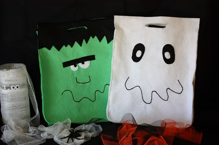 Halloween Frankenstein and Ghost bags  ---  Bolsas Frankestein y Fantasma Halloween