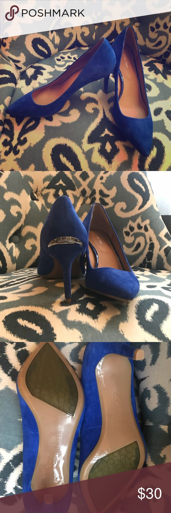 Calvin Klein Cobalt Blue Suede Pumps NWOT - Gorgeous pumps, perfect to dress up or wear casually with jeans. Never worn, I normally wear 8 1/2 and these are true to size 8 🙂😉 Calvin Klein Shoes Heels