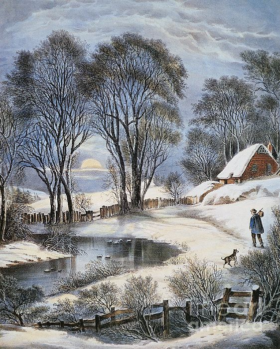 Winter Moonlight~ Man And His Best Friend In A Snowy Winterland~ Currier & Ives