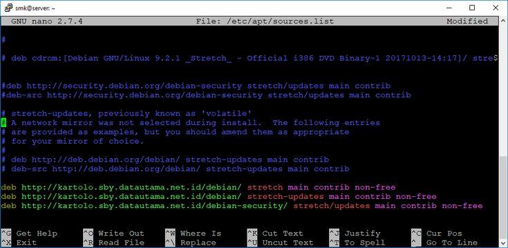 Untuk mendapatkan aplikasi pada linux debian 9 maka linux yang anda miliki harus mengarahkan sources.list nya ke salah satu server repository yang ada di internet. Berikut adalah langkah - langkah untuk melakukan konfigurasi repository pada linux debian 9