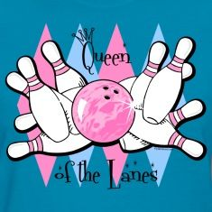 Funny QUEEN OF THE LANES bowling design. Pink bowling ball hitting pink striped pins with blue and pink argyle background. Text says QUEEN OF THE LANES. PinkInkArt original!
