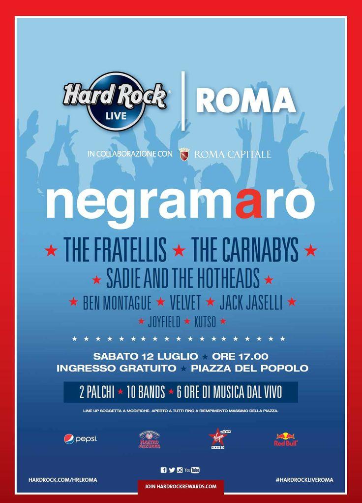 HOT OFF THE PRESS:  Negramaro, The Fratellis, Carnabys, Ben Montague, Sadie and the Hotheads, Velvet, Jack Jaselli, kuTso, Joyfield & many more join the #HardRockLiveRoma 's line-up!!!  #BeThere #ThisIsHardRock