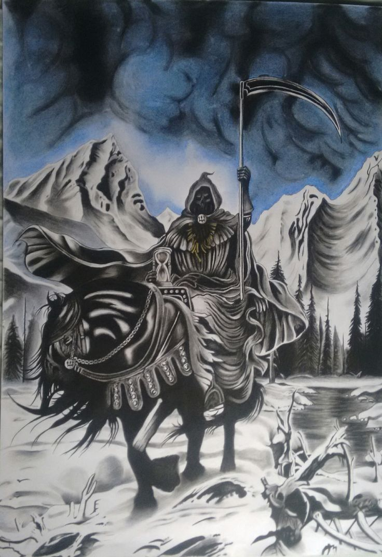 "Pintura ""Storm of the Light's Bane"" (Dissection) - 100cm x 70cm -  Carboncillo y Pasteles"