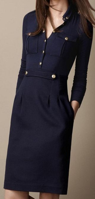Great details... Classic Navy Single-Breasted Dress.