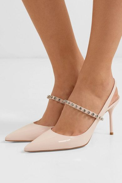cf3613f9fd Miu Miu | Crystal-embellished patent-leather slingback pumps |  NET-A-PORTER.COM