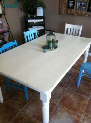 The Baeza Blog: Distressed Dining Table With 6 Chairs  All Different Colors