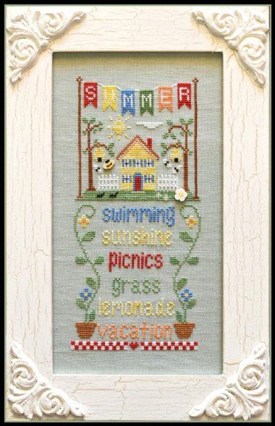 The title of this cross stitch pattern from Country Cottage Needleworks Seasonal Celebration series is Summer. Click on highlighted link to order the button pack to finish your design.
