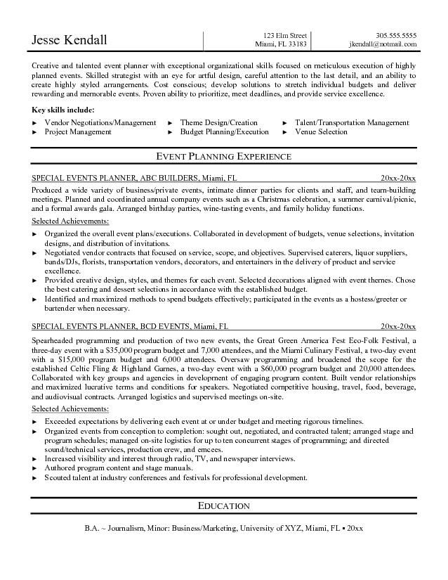 Events Coordinator Resume Gorgeous Resume Examples Event Coordinator  Pinterest  Resume Examples .